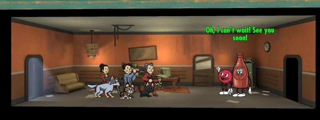 """Cappy & Bottle: le mascotte della Nuka-Cola Quantum: liberatele nel corso dell'apposita serie di missioni, e ogni tanto riceverete un """"aiutino"""" in-game"""