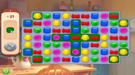 Homescapes, con l'avanzamento dei livelli, propone puzzle-game sempre più ostici...