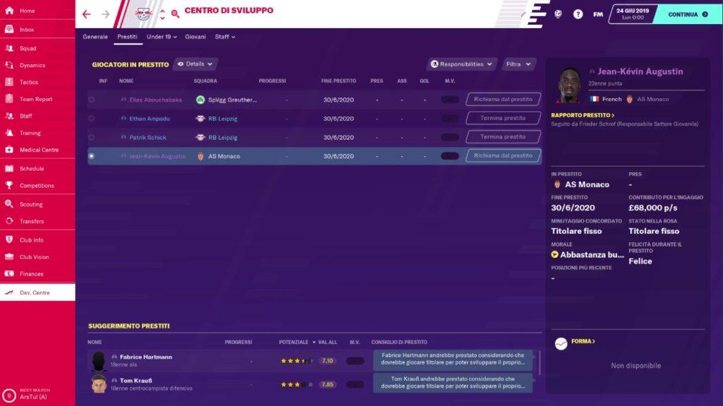 Il Centro di Sviluppo di Football Manager 2020