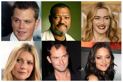 Cast di CONTAGION, di Steven Soderbergh. In senso orario: Matt Damon, Laurence Fishburne, Kate Winslet, Marion Cotillard, Jude Law, Gwyneth Paltrow