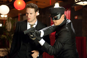 Seth Rogen e Jay Chou in The Green Hornet di Michel Gondry