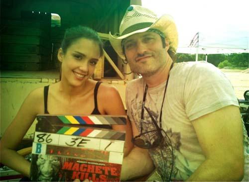 Machete Kills set - Jessica Alba e Robert Rodriguez
