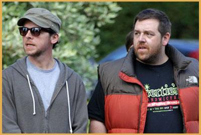 Simon Pegg e Nick Frost sul set di The World's End