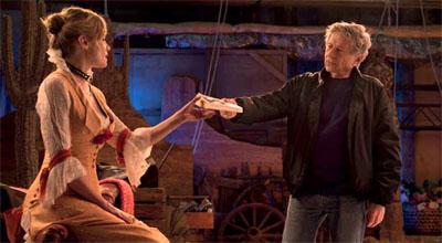 Emmanuelle Seigner con Roman Polanski sul set di La Vénus à la fourrure