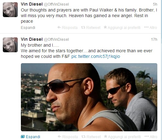 Tweet di Vin Diesel sulla morte di Paul Walker