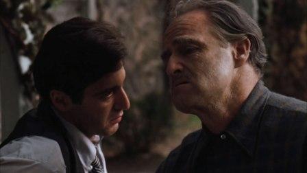 Marlon Brando e Al Pacino ne Il Padrino